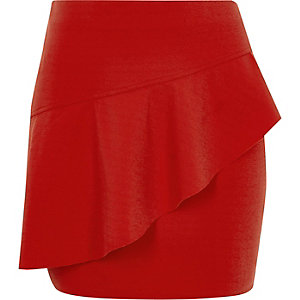 Red asymmetric frill front mini skirt