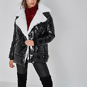 Black high shine faux fur aviator jacket
