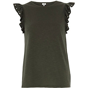 Khaki frill studded sleeve tank top