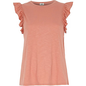 Pink frill sleeve tank top