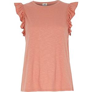Pink frill sleeve tank top