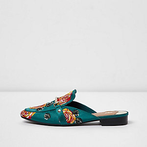 Dark green rose applique backless loafers