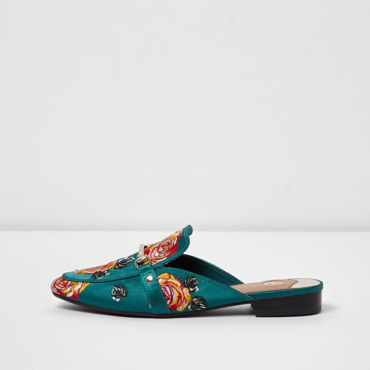 Dark green rose applique backless loafers