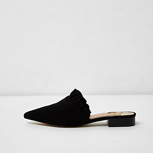 Black frill suede backless loafers