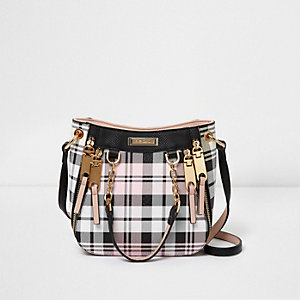 Pink and black mini scoop cross body tote bag