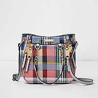 Pink check mini zip scoop cross body tote bag