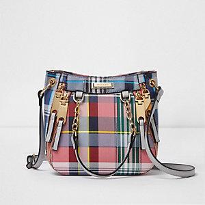 Pink check mini zip scoop cross body tote bag