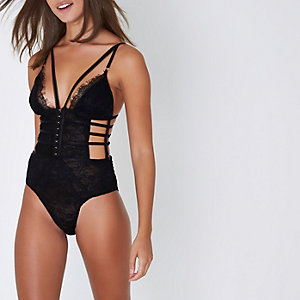 Black lace corset detail cut out bodysuit