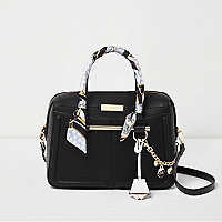 Black scarf handle chain tote bag