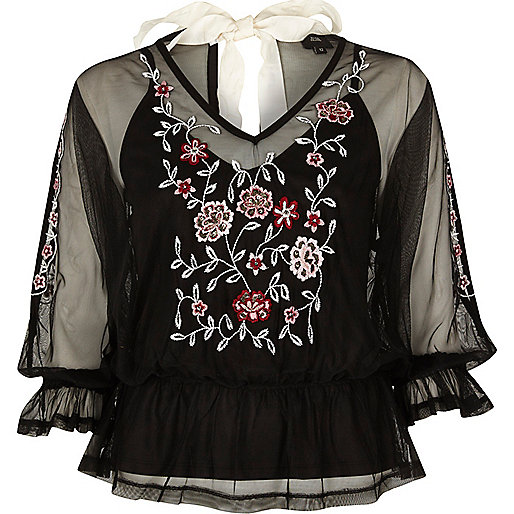 Black mesh floral embroidered top