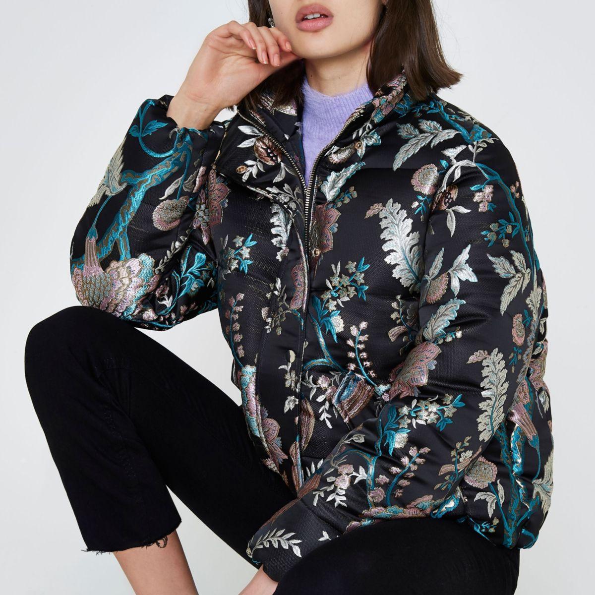 Black floral jacquard puffer jacket