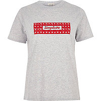 Grey marl 'simplicite' print fitted T-shirt