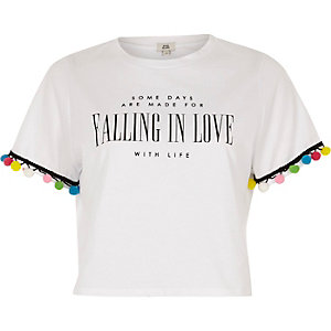 White 'falling in love' print pom pom T-shirt