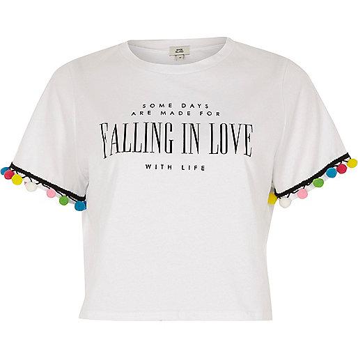 White 'falling in love' print pom pom T-shirt