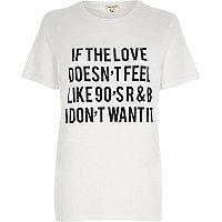 Wit aansluitend T-shirt met '90's R&B'-slogan