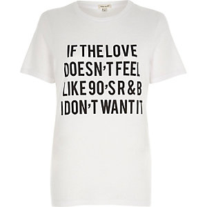 White '90's R&B' slogan print fitted T-shirt