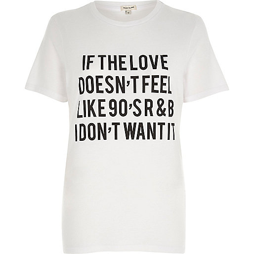 White '90's R&B' slogan print fitted T-shirt
