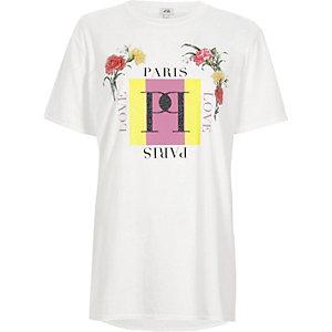 T-shirt boyfriend à imprimé fleurs «Paris» blanc