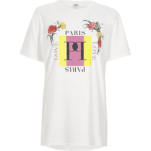 White 'Paris' floral print boyfriend T-shirt