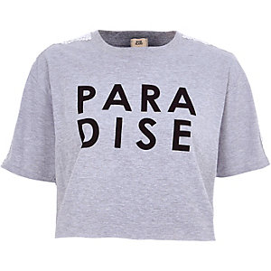 T-shirt court imprimé «paradise» gris chiné
