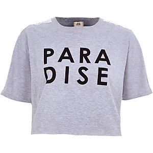 Grijs gemêleerd cropped T-shirt met 'paradise'-print