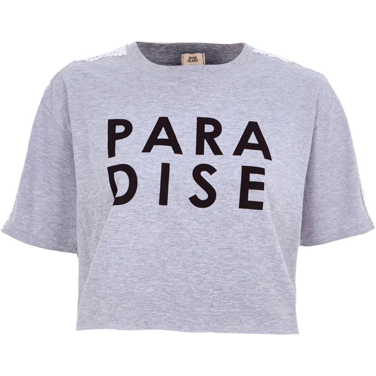 Grey marl 'paradise' print cropped T-shirt