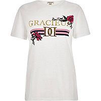 Wit aansluitend T-shirt met 'gracieux'-folieprint