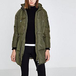 Khaki green faux fur longline puffer jacket