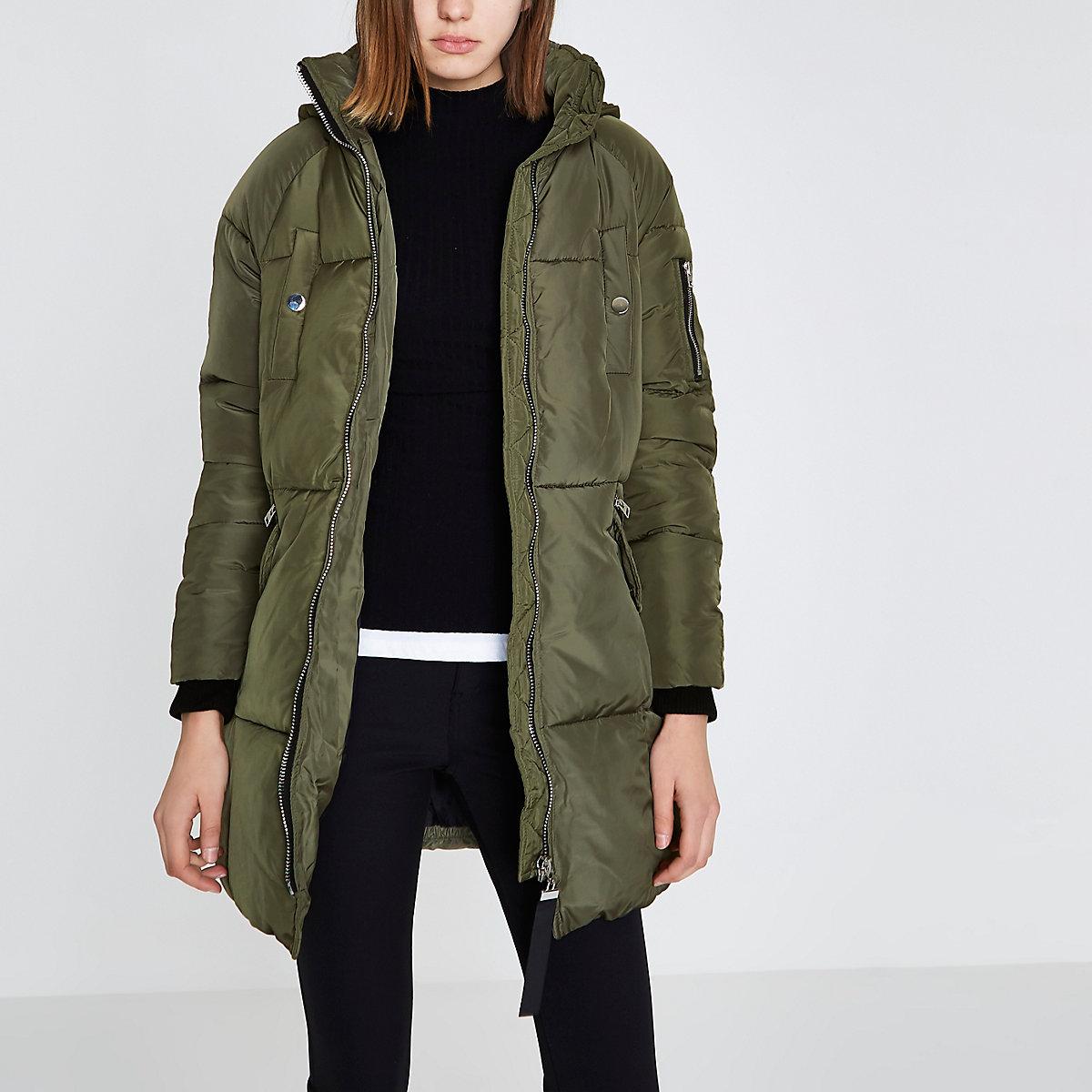 3e82f015e320 Khaki green faux fur longline puffer jacket - Coats - Coats   Jackets -  women