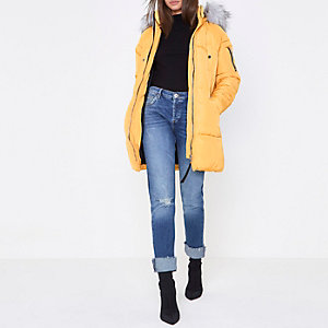 Yellow longline faux fur trim puffer jacket