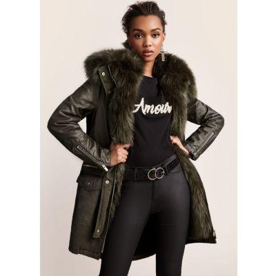 Womens green fur lined parka