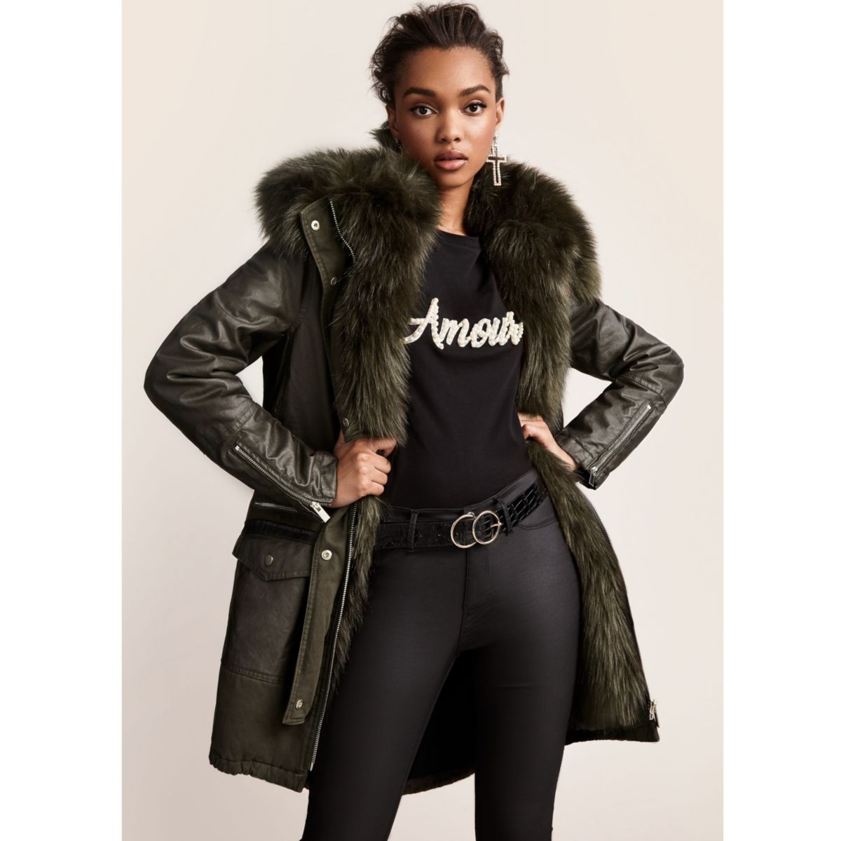 Khaki green faux fur trim parka - Coats & Jackets - Sale - women