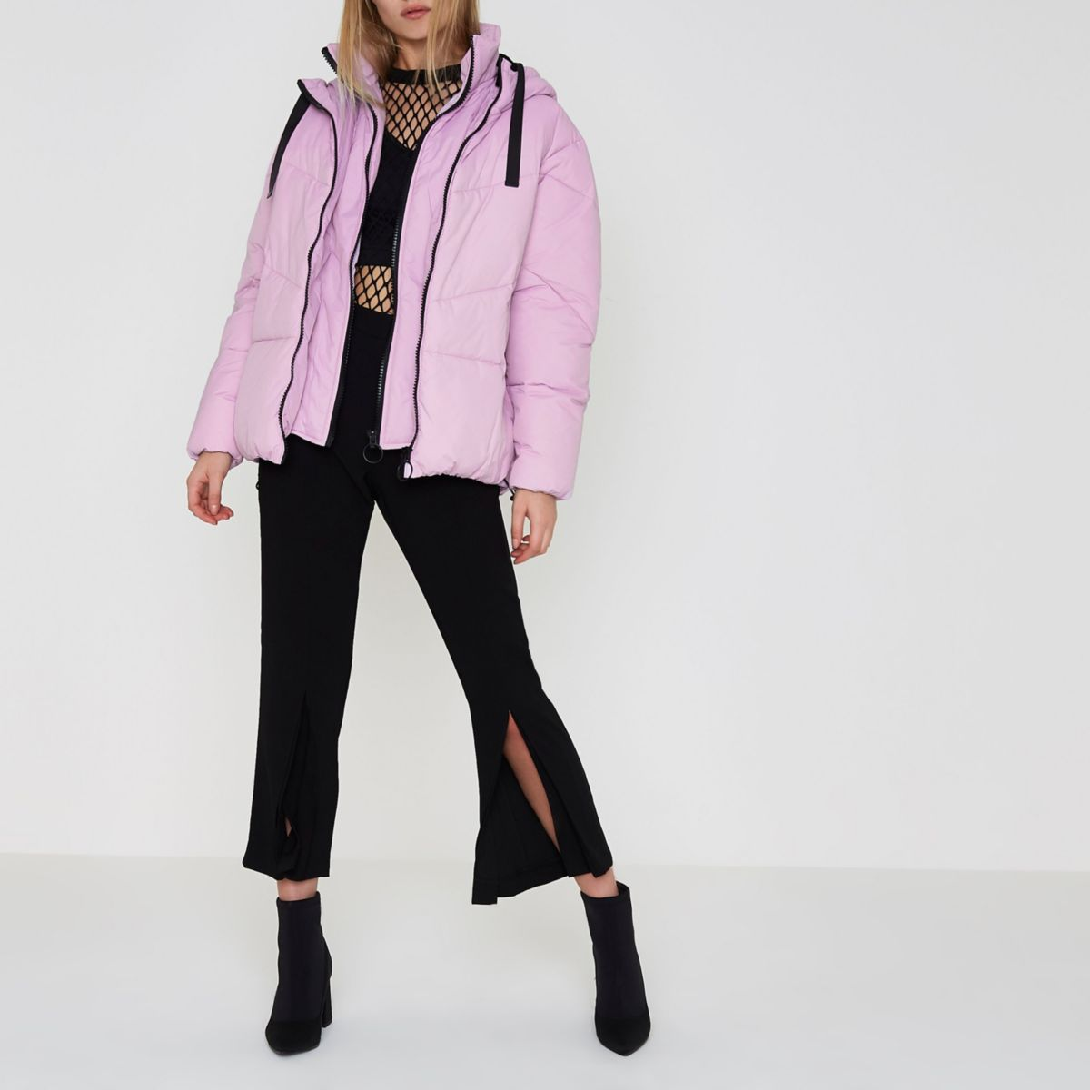 Purple faux fur trim oversized puffer jacket