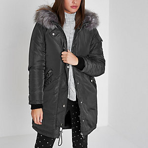 Grey faux fur trim split hood parka