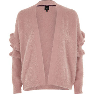 Dusty pink fluffy frill sleeve cardigan