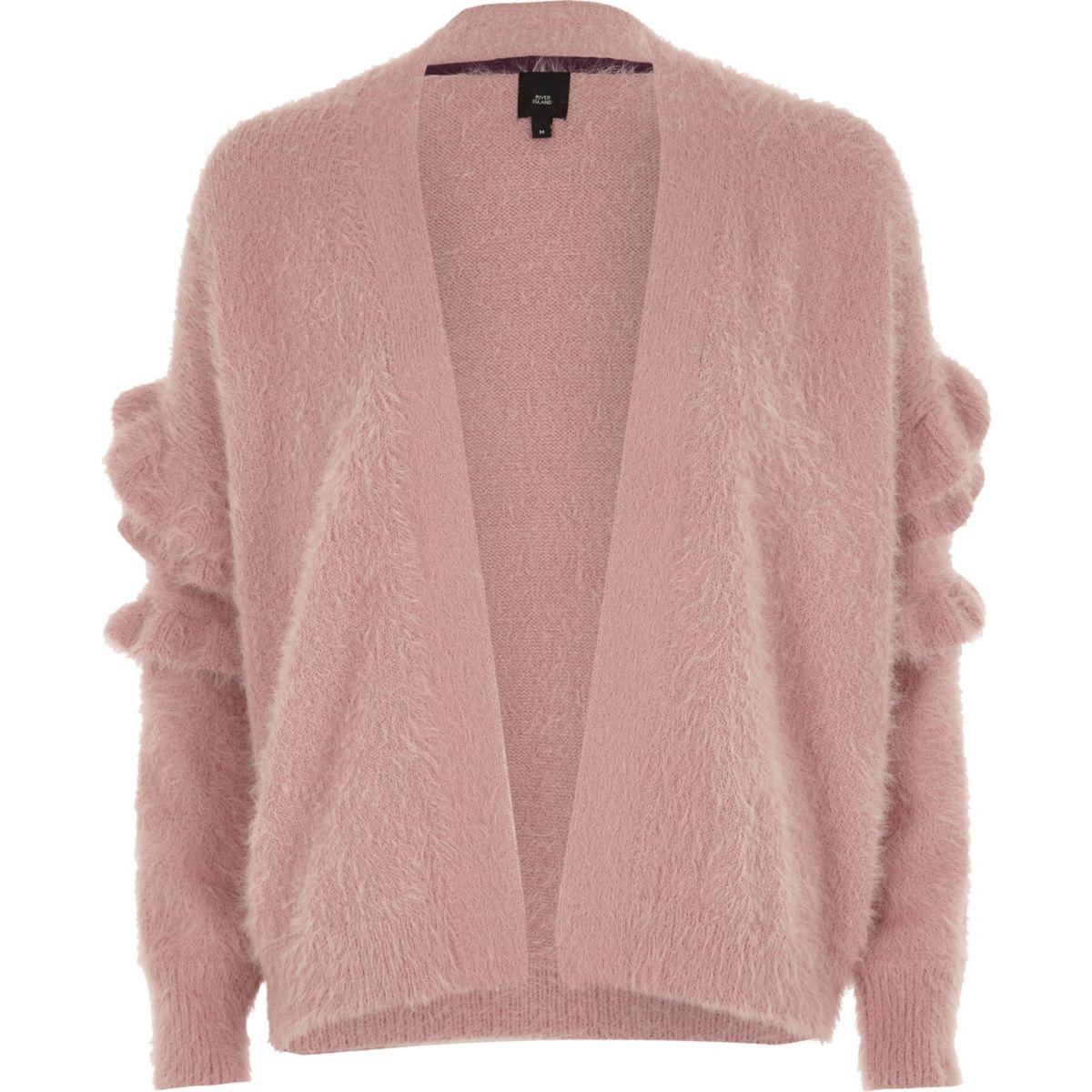 Dusty pink fluffy frill sleeve cardigan