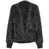 Black metallic tinsel knit cardigan