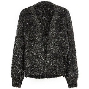 Black metallic tinsel knit cardigan