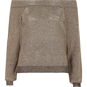 Dark grey metallic bardot sweater
