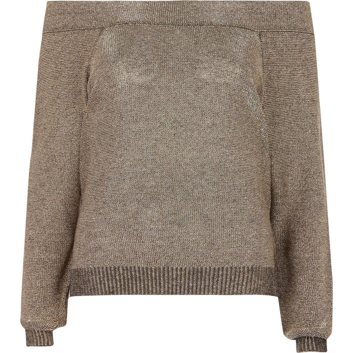 Pullover in Dunkelgrau-Metallic mit Schulterausschnitten