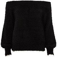 Black bardot fluffy knit sweater