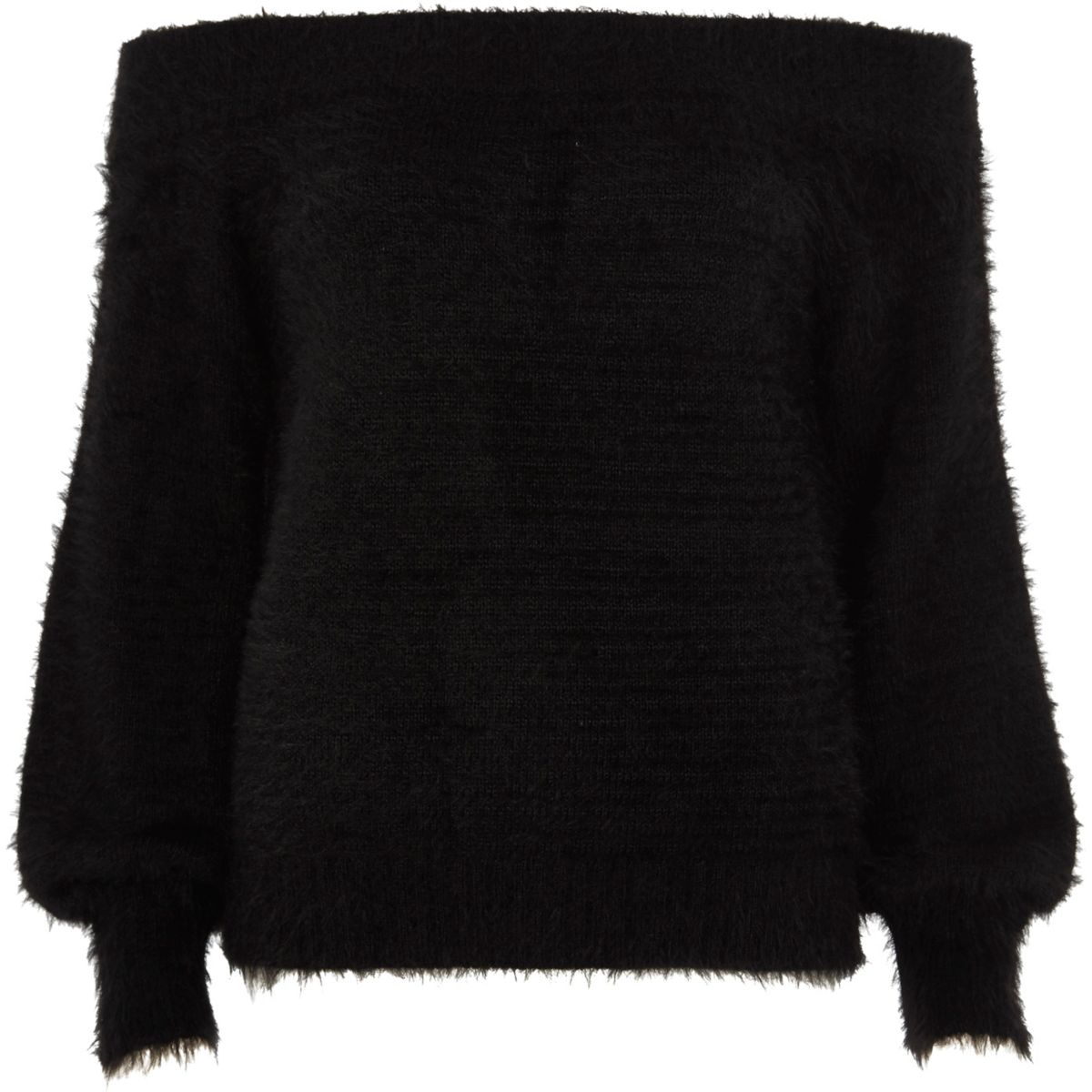 Black bardot fluffy knit sweater