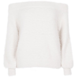 White bardot fluffy knit sweater