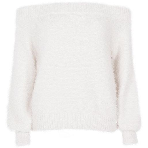 White bardot fluffy knit sweater