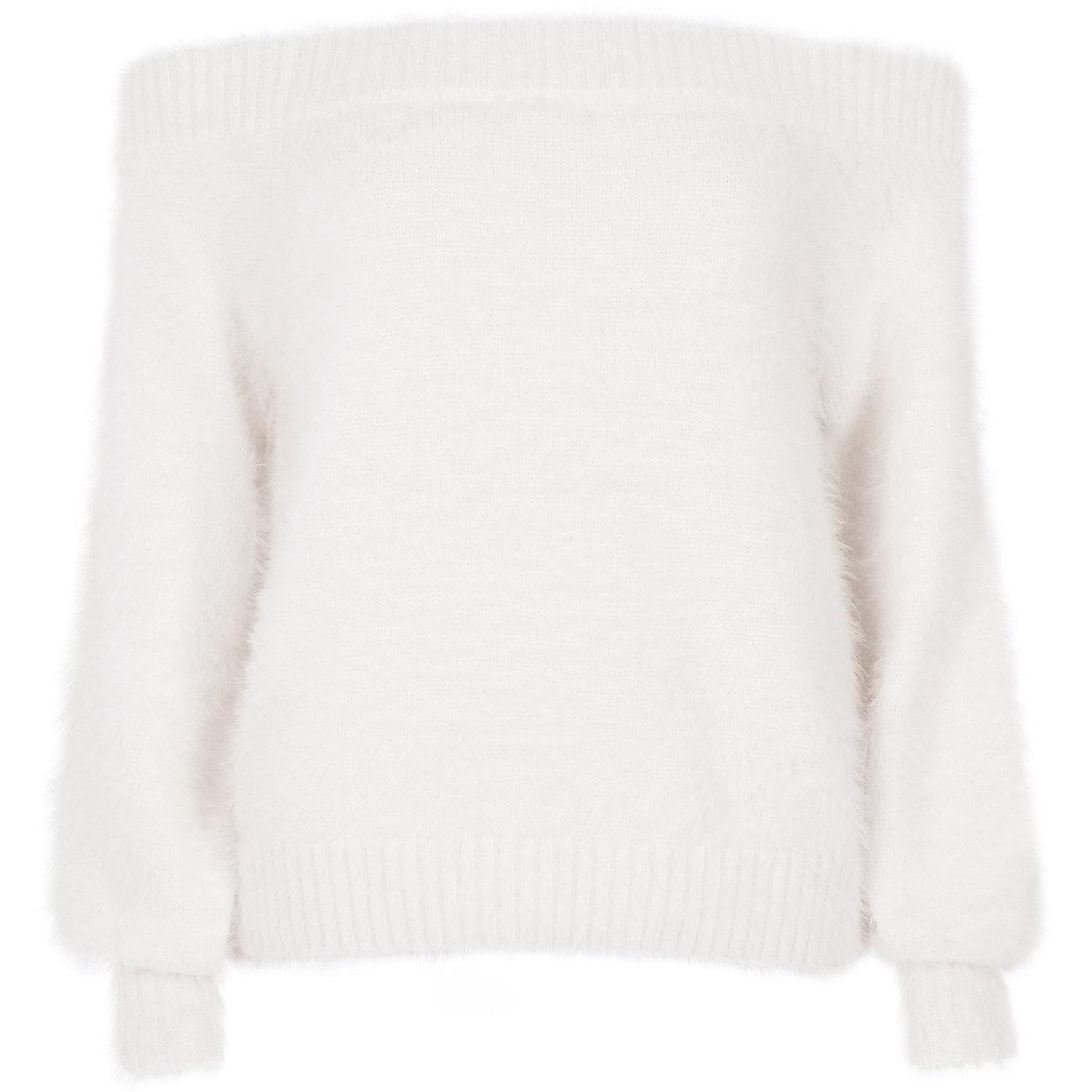 White bardot fluffy knit jumper