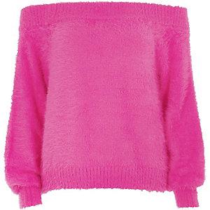 Bright pink bardot fluffy knit jumper