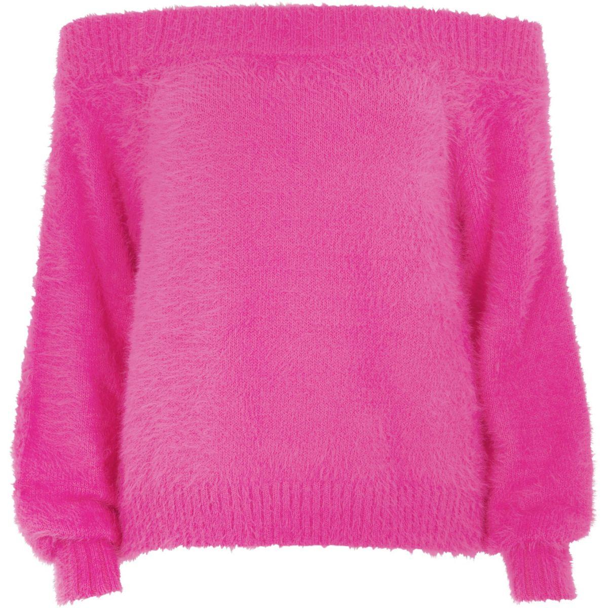 Bright pink bardot fluffy knit sweater