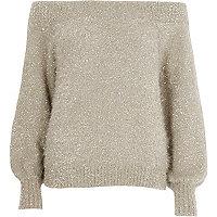 Gold metallic tinsel yarn bardot jumper