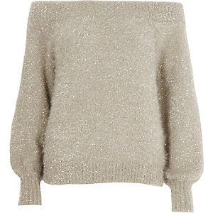 Gold metallic tinsel yarn bardot jumper