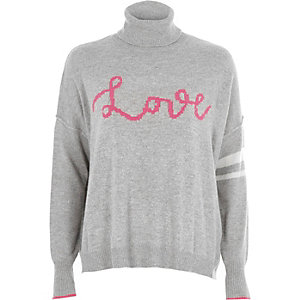 Grey 'love' roll neck knit jumper